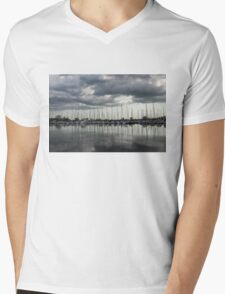 Yachts and Sailboats - the Silvery Calmness of Grays Mens V-Neck T-Shirt