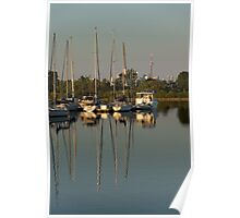 Quiet Summer Afternoon - Boats and Downtown Skyline Poster