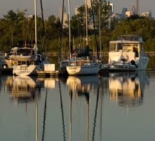 Quiet Summer Afternoon - Boats and Downtown Skyline Sticker