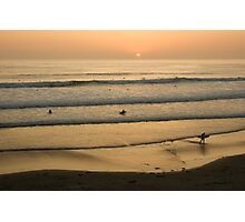Crowded Californian Surfing Sunset - Pacific Beach, San Diego Photographic Print