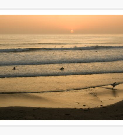 Crowded Californian Surfing Sunset - Pacific Beach, San Diego Sticker