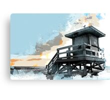 Weathered Life Guard Station at the Shoreline Canvas Print