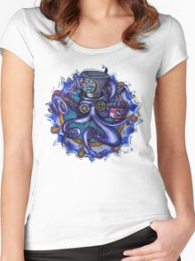 Steampunk Octopus Tentacle Tea Party Women's Fitted Scoop T-Shirt