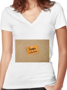 Solution written on orange paper note Women's Fitted V-Neck T-Shirt