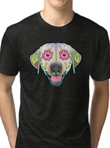 Labrador Retriever in Yellow - Day of the Dead Lab Sugar Skull Dog Tri-blend T-Shirt