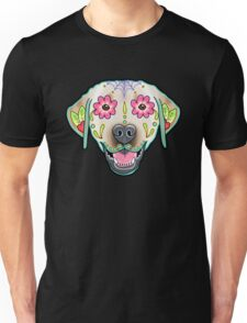 Labrador Retriever in Yellow - Day of the Dead Lab Sugar Skull Dog Unisex T-Shirt