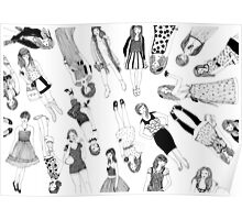 Colouring In Fashion Girls Poster