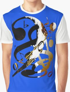 Jazz Note Blue Graphic T-Shirt