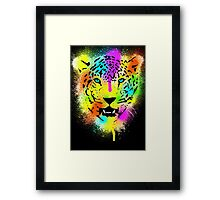 POP Tiger - Colorful Paint Splatters and Drips Framed Print