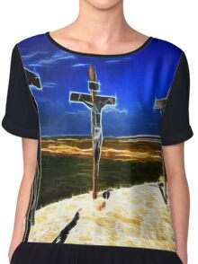 Darkness at the Crucifixion of Jesus Chiffon Top
