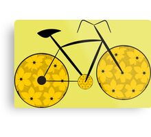 Floral bike ride in yellow Metal Print