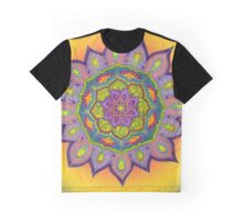 Purple Mandala - yellow background Graphic T-Shirt