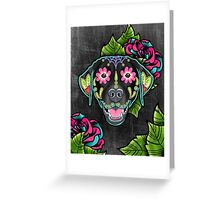 Labrador Retriever in Black- Day of the Dead Lab Sugar Skull Dog Greeting Card