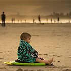 The boy on the Beach at Byron Bay by Clare Colins