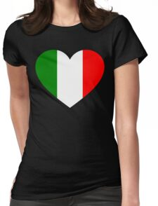 Italy Flag Heart Womens Fitted T-Shirt