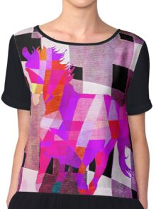 Modern Geometric Colorful Horse with Canvas Texture Women's Chiffon Top