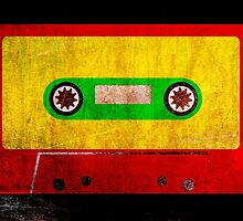 Reggae Flag Cassette Tape - Cool Grunge Reggae Music Design by Denis Marsili