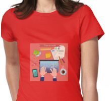 Time to Work. Modern Workplace Top View on Desk with Laptop and Office Accessories.  Womens Fitted T-Shirt