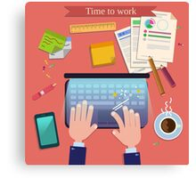 Time to Work. Modern Workplace Top View on Desk with Laptop and Office Accessories.  Canvas Print