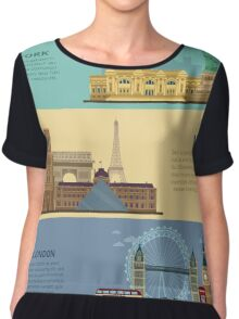 Set of Horizontal Travel Banners - New York, Paris and London. Each City is represented in its Famous Buildings. Vector illustration in flat style Chiffon Top