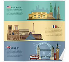 Set of Horizontal Travel Banners - New York, Paris and London. Each City is represented in its Famous Buildings. Vector illustration in flat style Poster