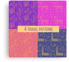 Travel Seamless Patterns Set: London and Paris. Vector backgrounds for decoration Canvas Print