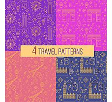 Travel Seamless Patterns Set: London and Paris. Vector backgrounds for decoration Photographic Print