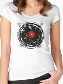 Enchanting Vinyl Records Vintage Twirls T Shirt Women's Fitted Scoop T-Shirt