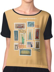 Set of Travel Postage Stamps: USA, New York, London, Paris. Vector illustration Chiffon Top
