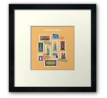 Set of Travel Postage Stamps: USA, New York, London, Paris. Vector illustration Framed Print