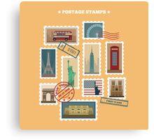 Set of Travel Postage Stamps: USA, New York, London, Paris. Vector illustration Canvas Print