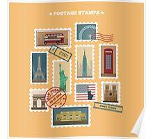 Set of Travel Postage Stamps: USA, New York, London, Paris. Vector illustration Poster