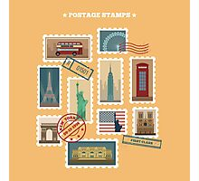 Set of Travel Postage Stamps: USA, New York, London, Paris. Vector illustration Photographic Print