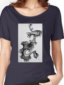 Black paintbrush pen drawing Women's Relaxed Fit T-Shirt