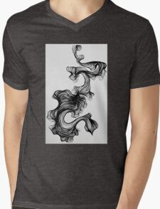 Black paintbrush pen drawing Mens V-Neck T-Shirt