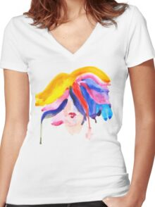 watercolor girl Women's Fitted V-Neck T-Shirt