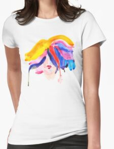 watercolor girl Womens Fitted T-Shirt
