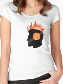 Burning with a Vinyl Record! Music DJ T Shirt and Prints Women's Fitted Scoop T-Shirt