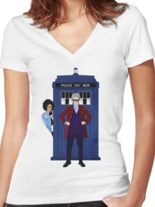 The Doctor and Bill Women's Fitted V-Neck T-Shirt