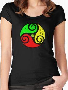 Grunge Reggae Love Vibes - Cool Weed Cannabis Reggae Rasta T-Shirt NoteBooks Stickers Women's Fitted Scoop T-Shirt