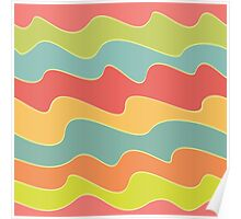 Funny colorful wave pattern Poster