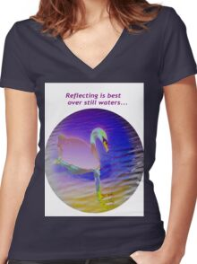 Pink swan floating on still waters... Women's Fitted V-Neck T-Shirt