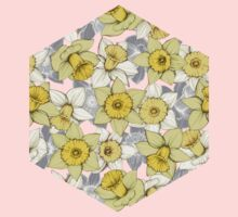 Daffodil Daze - yellow & grey daffodil illustration pattern Baby Tee