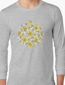 Daffodil Daze - yellow & grey daffodil illustration pattern Long Sleeve T-Shirt