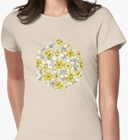 Daffodil Daze - yellow & grey daffodil illustration pattern Womens Fitted T-Shirt