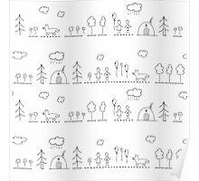 Doodle pattern Poster