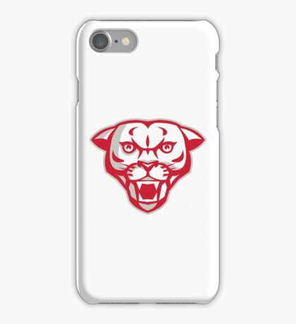 Angry Cougar Mountain Lion Head Retro iPhone Case/Skin