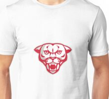 Angry Cougar Mountain Lion Head Retro Unisex T-Shirt