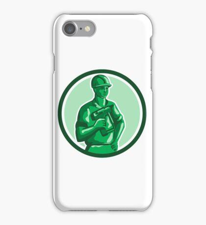 Green Construction Worker Nailgun Circle Retro iPhone Case/Skin