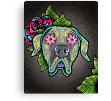 Great Dane - Floppy Ear Edition - Day of the Dead Sugar Skull Dog Canvas Print
